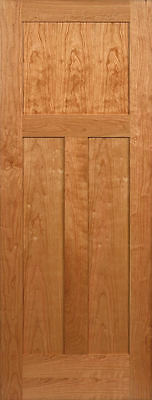 3 Panel Flat Mission / Shaker Cherry Stain Grade Solid Core Interior Wood Doors