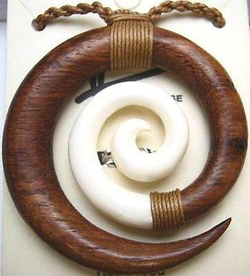 Composite Hawaiian Koa Wood Water Buffalo Bone Maori Koru Friendship Necklace