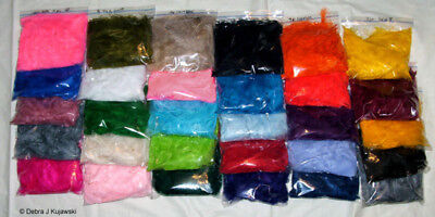 """3-8"""" Marabou Craft Feathers 7 grams ea of 30 different colors Approx 35 per bag"""