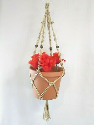 MACRAME PLANT HANGER 28in BEADED Button Knot ** PEARL **