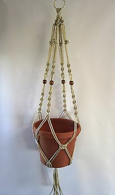 MACRAME PLANT HANGER 34in BEADED Button Knot **PEARL**