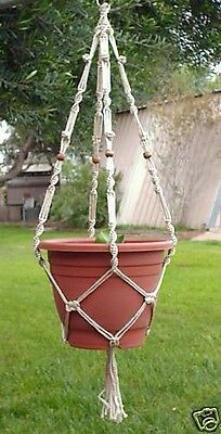Macrame Plant Hanger 40 in BEADED Button Knot - PEARL