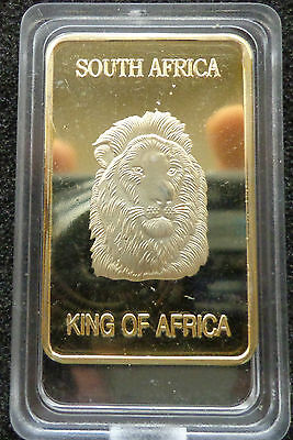collectible King of  Africa 24k Gold-Plated Lion  coin bar