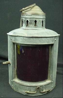 Antique Nautical Ships Lantern Lamp Red Shade Boat Hardware Converted Electric