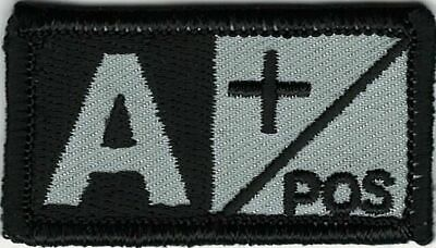 Grey Gray Black Blood Type A+ Positive Patch VELCRO® BRAND Hook Fastener Compati