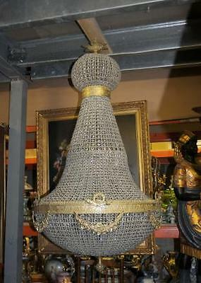 Large French Art Nouveau Chandelier Ormolu Cut Glass Light