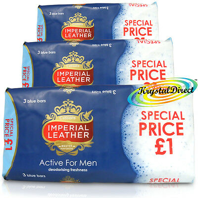 9 Bars Of Cussons Imperial Leather Active For Men Soap 100g Blue