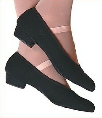 Black character dance shoes canvas low heel K10 to A5.5