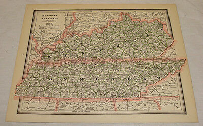 1887 COLOR MAP of KENTUCKY & TENNESSEE