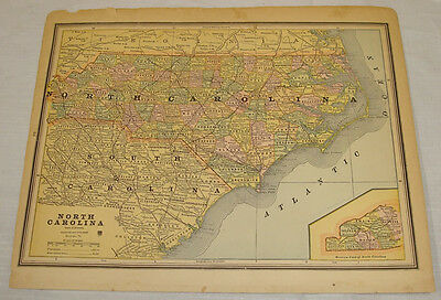 1880s COLOR MAP of NORTH CAROLINA