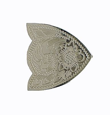 """Tandy Leather Engraved Nickel Finishing Belt Tip 1-1/2"""" 1948-00"""