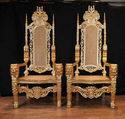 Pair Gilt XL George II Thrones Arm Chairs ArmChairs Seats