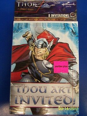 Thor The Mighty Avenger Movie Marvel Birthday Party Invitations w/Envelopes