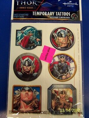 Thor The Mighty Avenger Movie Marvel Birthday Party Favor Temporary Tattoos