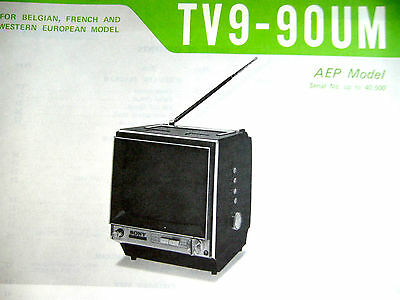 SONY  TV9-90UM  SERVICE MANUAL tv nb 1969 televiseur B-W TV9 * COLLECTOR *