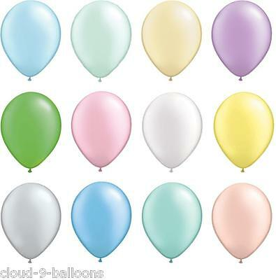 """12 Satin Pearl Finish 11"""" Wedding Party Christening Balloons Helium or Air Fill"""