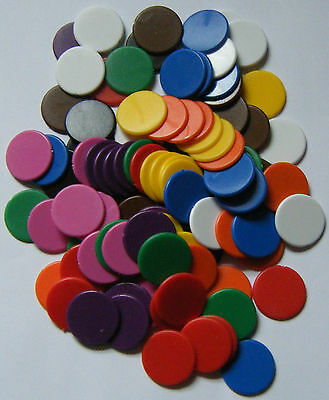 100 x 22mm Plastic Counters Choose from 10 Colours Board Games Tiddly Winks NEW