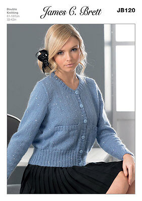 James C Brett Ladies Long Sleeved Cardigan DK Yarn Knitting Pattern JB120