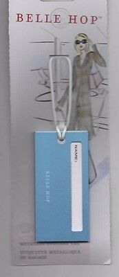 Belle Hop Metallic Aqua Blue Luggage Tag Bag Travel Security Window Durable NEW