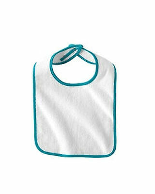 12 New Snap Terry Blank Bibs White W/turquoise Trim Rabbit Skins Mpn 1003 Unisex