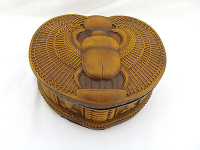 Egyptian Winged Scarab Stone Resin Jewelry Box Black Inside 5.5""