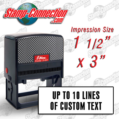 Shiny S-857 (Ideal 300 Size) 8,9 or 10 Line Self-Inking Custom Stamp
