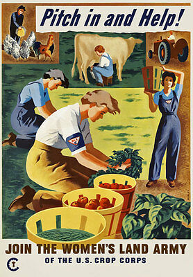 2W16 Vintage WWII Pitch In And Help Women's Land Army War Poster WW2 Re-Print A4