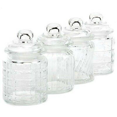 Clear Glass Cannisters w/Lids, 5 Inch Tall, 4 Styles -Wholesale Case Lot of 36