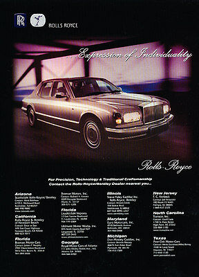 2001 Rolls Royce Silver Seraph - Classic Vintage Advertisement Ad PE99