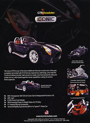 2008 GTR Iconic Roadster Cobra - Classic Vintage Advertisement Ad PE99