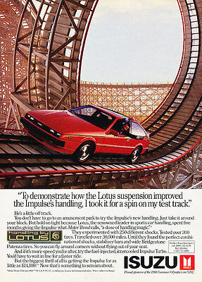 1988 Isuzu Impulse - Lotus track - Classic Vintage Advertisement Ad A97
