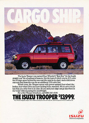 1990 Isuzu Trooper - cargo ship - Classic Vintage Advertisement Ad A97