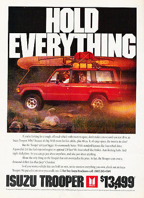 1990 Isuzu Trooper - hold everything - Classic Vintage Advertisement Ad A97