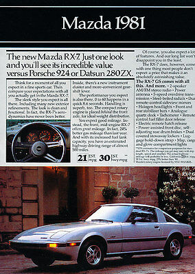 1981 Mazda Rx-7 626 GLC 4-sided - Classic Vintage Advertisement Ad A99