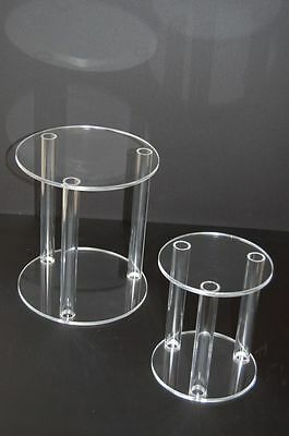 2 x ACRYLIC SEPARATORS / STANDS FOR 3 TIER WEDDING CAKE