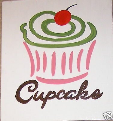 CUPCAKE Chic Shabby SIGN Birthday Party Room Decor HP WOOD Plaque U Pick Color!