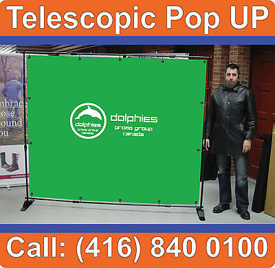 NEW Backdrop ADJUSTABLE Exhibit Trade Show Pop Up Booth Banner System Wall Stand