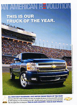 2007 Chevrolet Silverado - Truck of Year - Classic Vintage Advertisement Ad D02