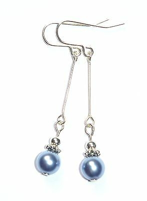 Beautiful Lilac Pearl Art Deco Style Drop Earrings