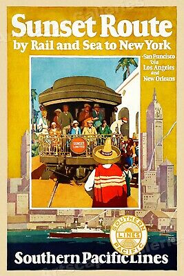 """""""Sunset Route by Rail Southern Pacific RR 1930s Vintage Travel Poster - 20x30"""