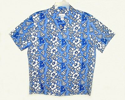 Men's Vintage 1960's-1970's MADE IN HAWAII Aloha Shirt Poly/Cotton NEVER WORN L
