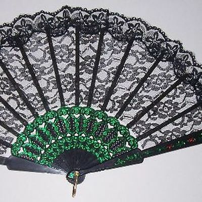 Folding Black Lace Fan Bridal Victorian Wedding Photo Shoot Costume Prop 9""