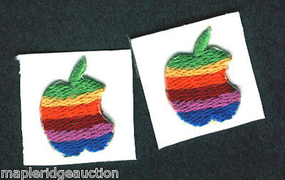 """2 AUTHENTIC Vintage 1"""" Apple Computer Embroidered Sticker, 1980's Rainbow Logo"""