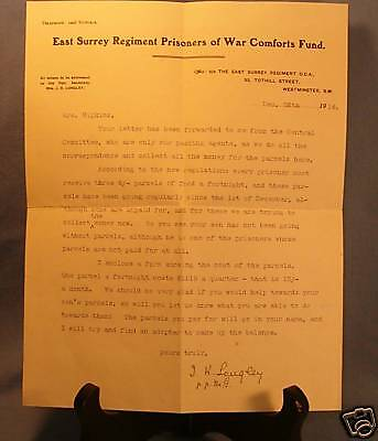 British East Surrey  Reg. Prisoner of War Document WW I