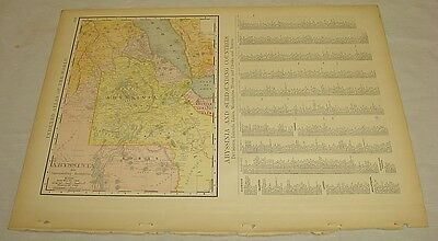 1904 Rand McNally COLOR MAP of ABYSSINIA
