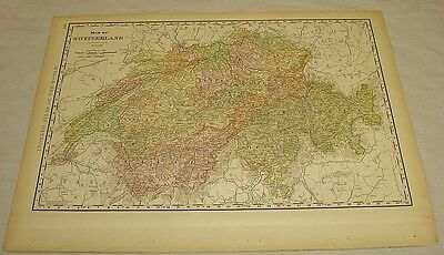 1904 Rand McNally COLOR MAP of SWITZERLAND