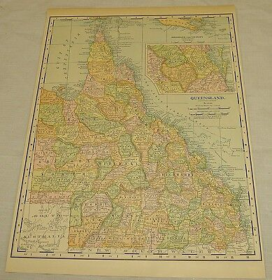 1904 Rand McNally COLOR MAP of QUEENSLAND, AUSTRALIA