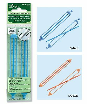 Clover 2 Double Ended Stitch Holders Cable Needle Small Medium Large Jumbo
