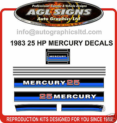 1983 MERCURY 25 hp OUTBOARD DECALS