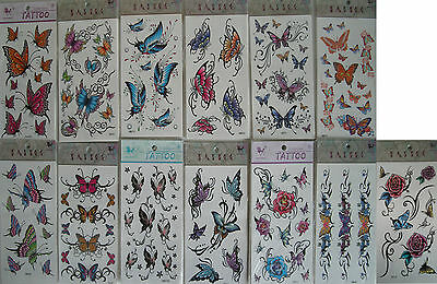 body art transfer temporary tatoo roses,party bags,butterflys,mix colour design